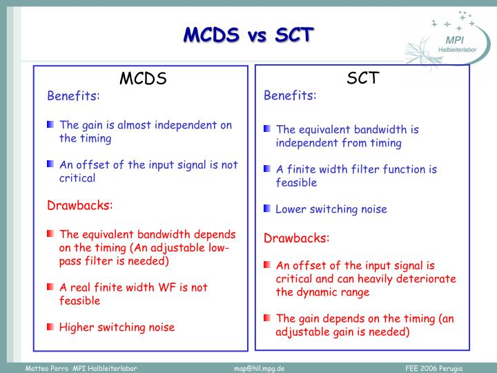 MCDS vs SCT
