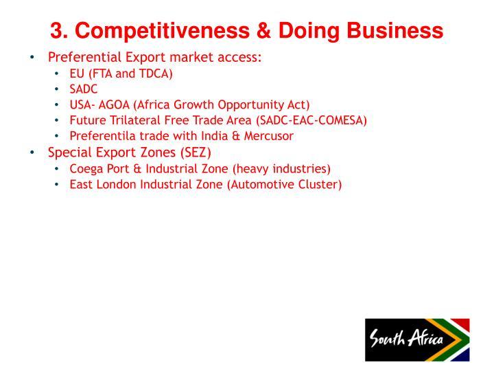 Preferential Export market access: