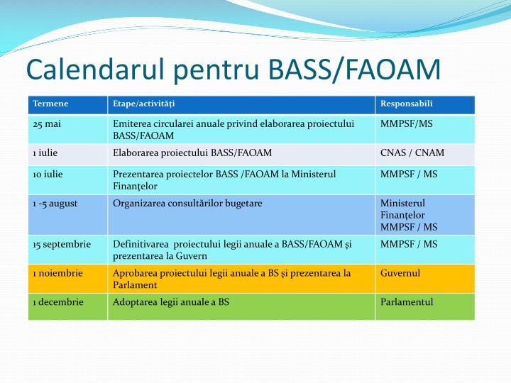 Calendarul pentru BASS/FAOAM