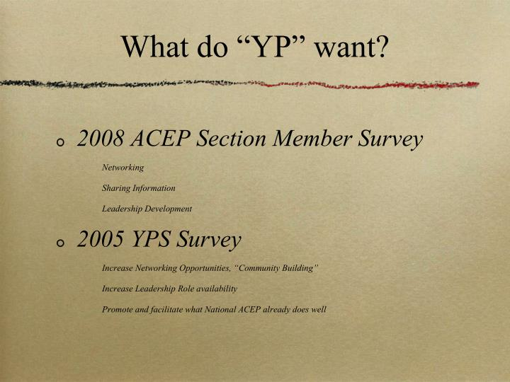 "What do ""YP"" want?"
