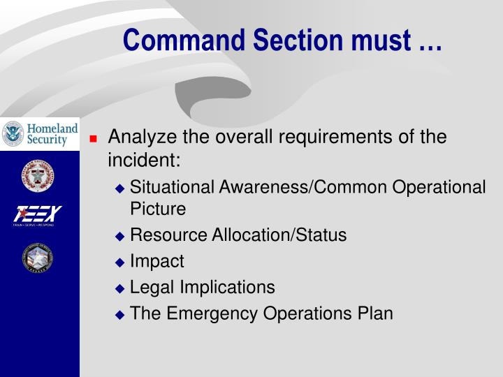 Command Section must …