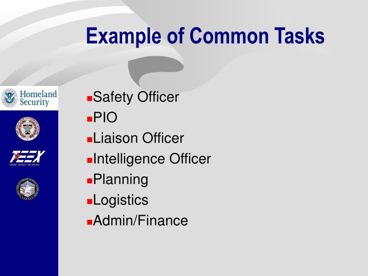 Example of Common Tasks