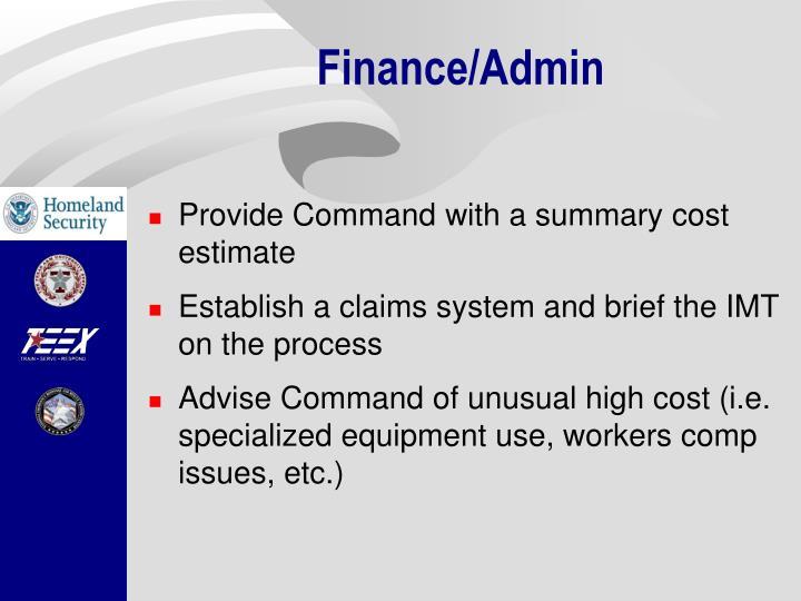 Finance/Admin