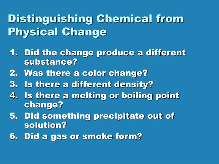Distinguishing Chemical from Physical Change