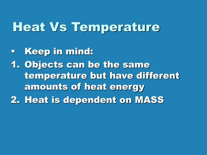 Heat Vs Temperature