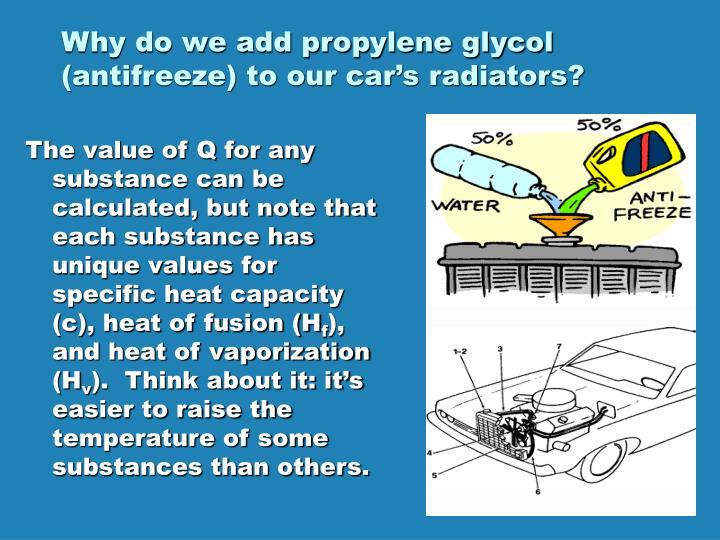 Why do we add propylene glycol (antifreeze) to our car's radiators?