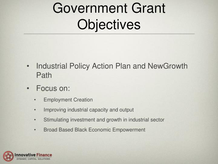 Government Grant Objectives