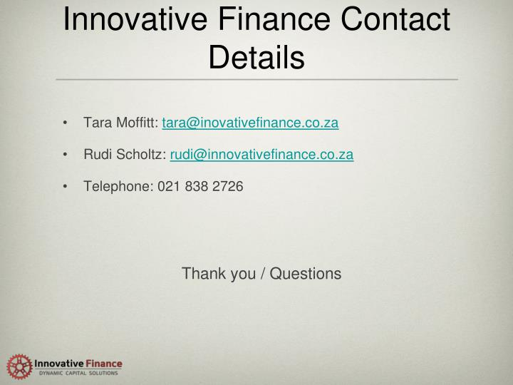 Innovative Finance Contact Details