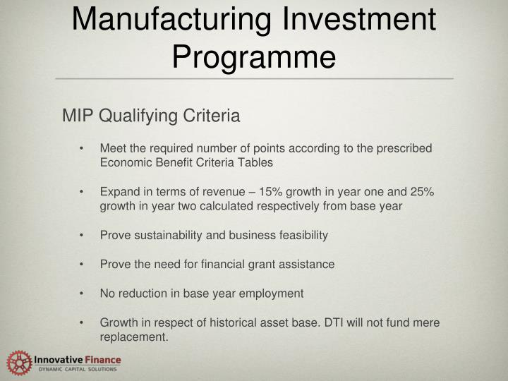 Manufacturing Investment