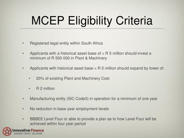MCEP Eligibility Criteria
