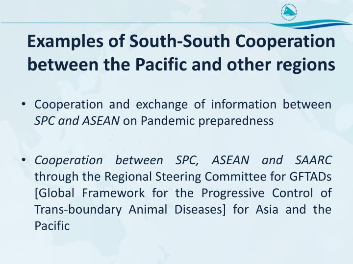 Examples of South-South Cooperation between the Pacific and other regions