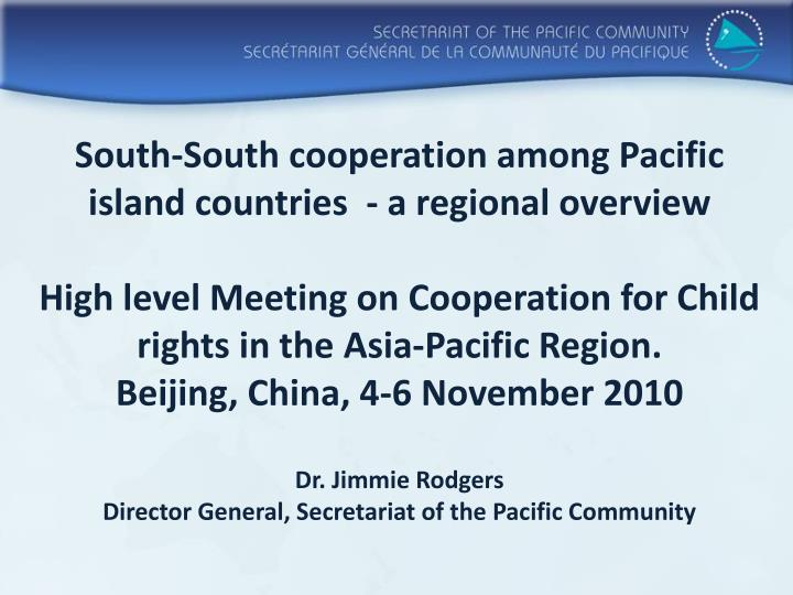 South-South cooperation among Pacific island countries  - a regional overview
