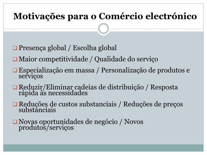 Motivações para o Comércio electrónico