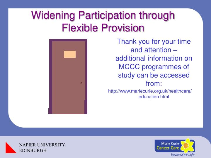 Widening Participation through Flexible Provision