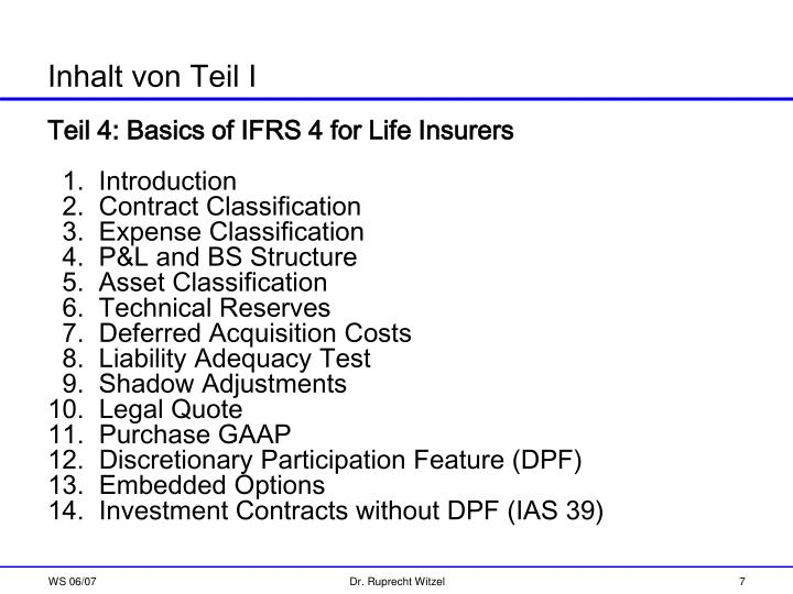 Teil 4: Basics of IFRS 4 for Life Insurers