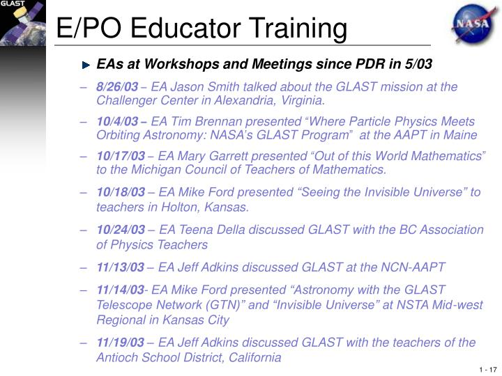 E/PO Educator Training