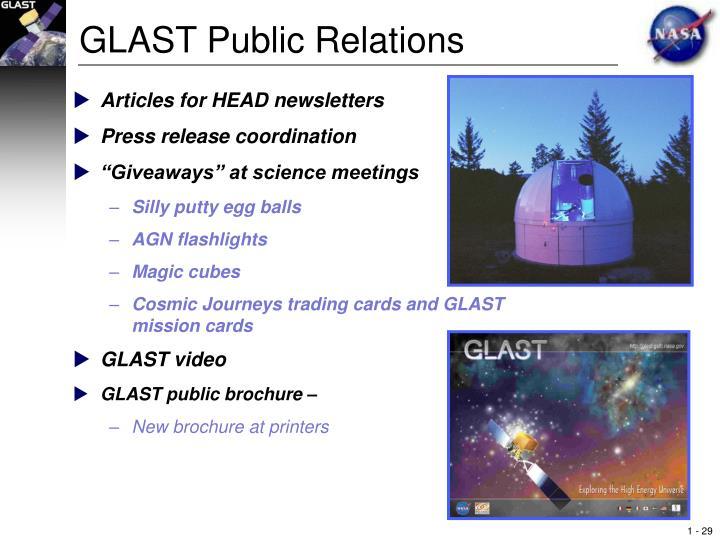 GLAST Public Relations