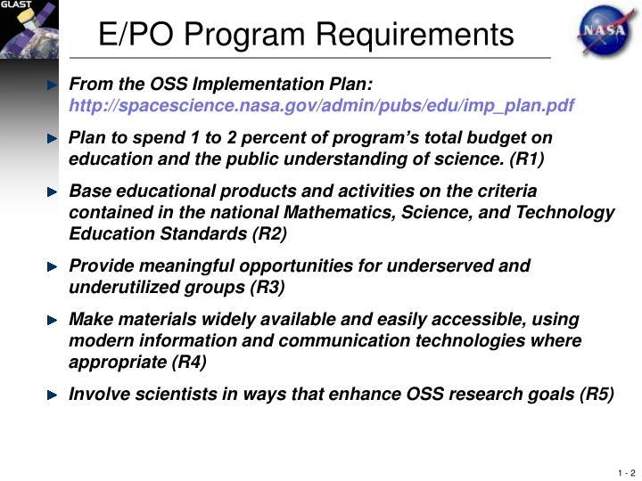 E/PO Program Requirements