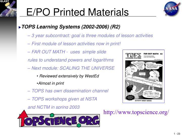 E/PO Printed Materials