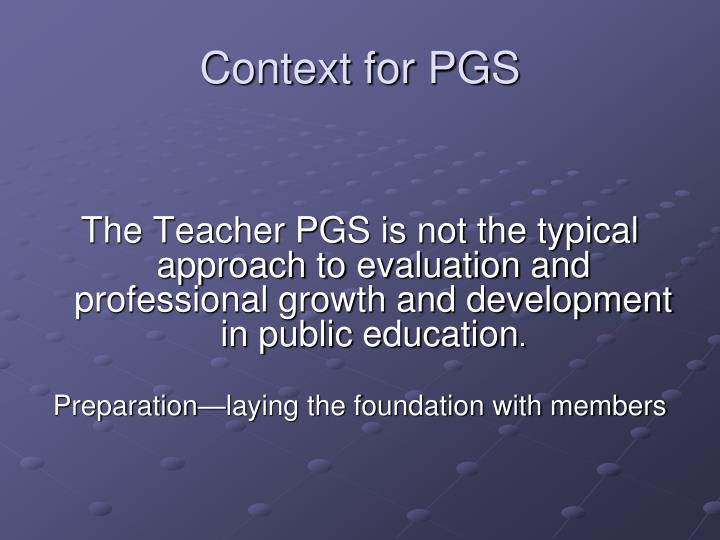 Context for PGS
