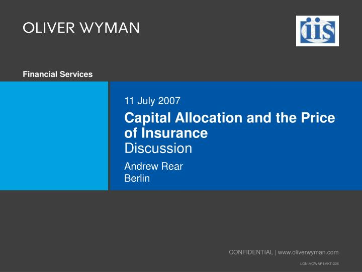 Capital Allocation and the Price of Insurance