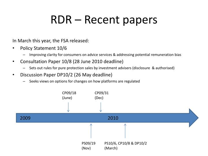 RDR – Recent papers
