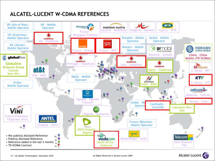 ALCATEL-LUCENT W-CDMA REFERENCES