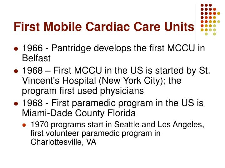 First Mobile Cardiac Care Units