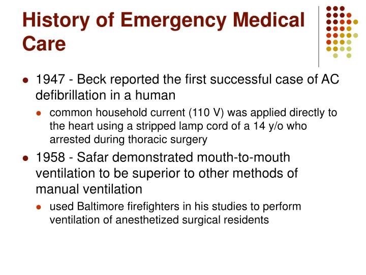 History of Emergency Medical Care