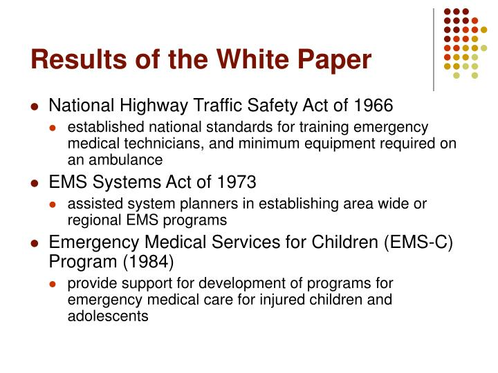 Results of the White Paper