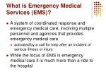 what is emergency medical services ems