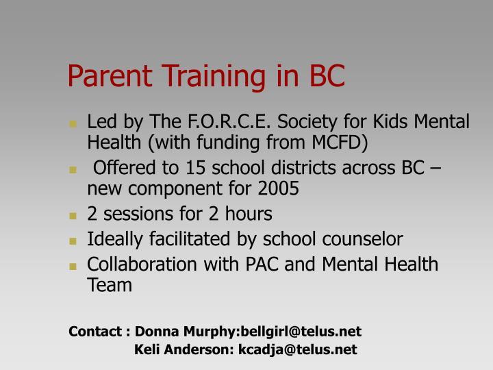 Parent Training in BC