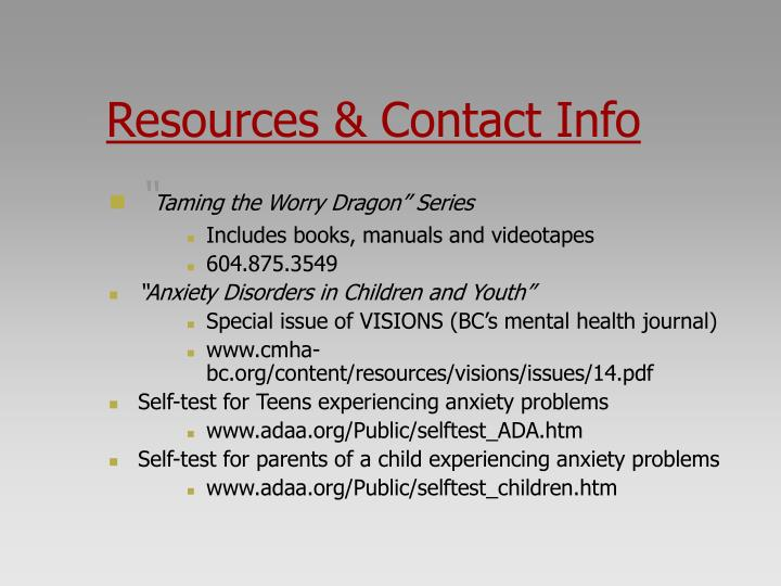 Resources & Contact Info
