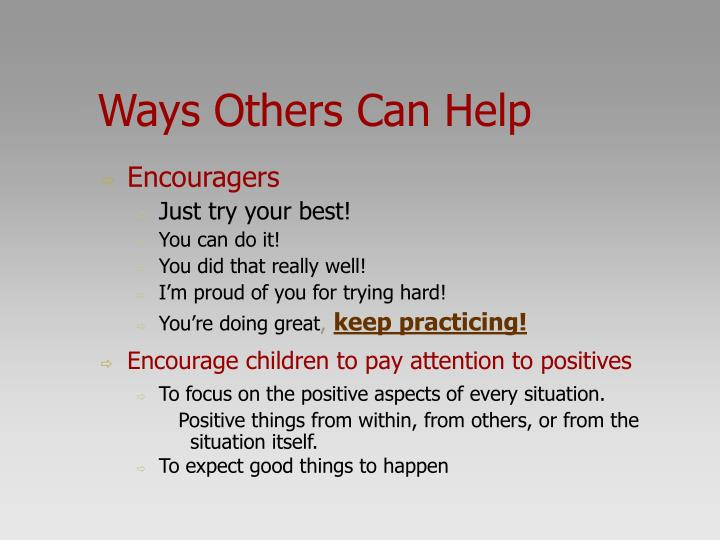 Ways Others Can Help