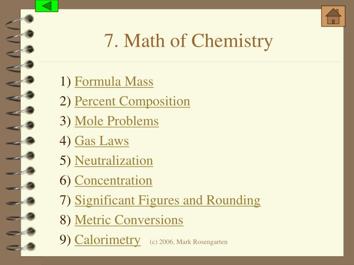 7. Math of Chemistry
