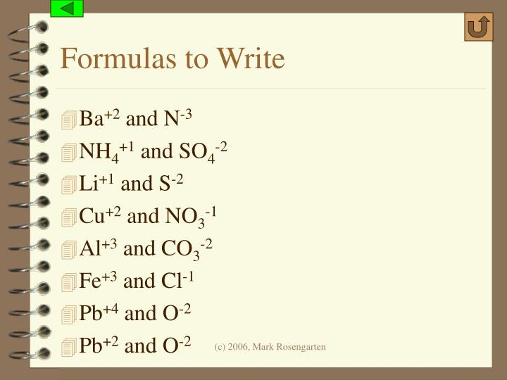 Formulas to Write