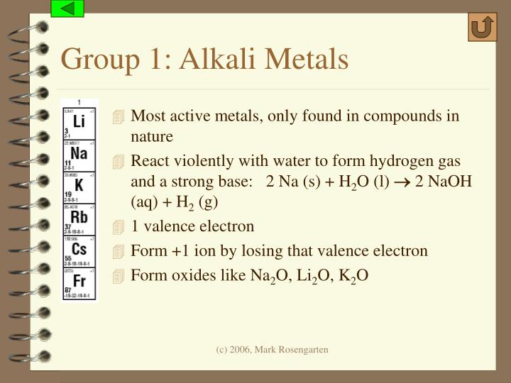 Group 1: Alkali Metals