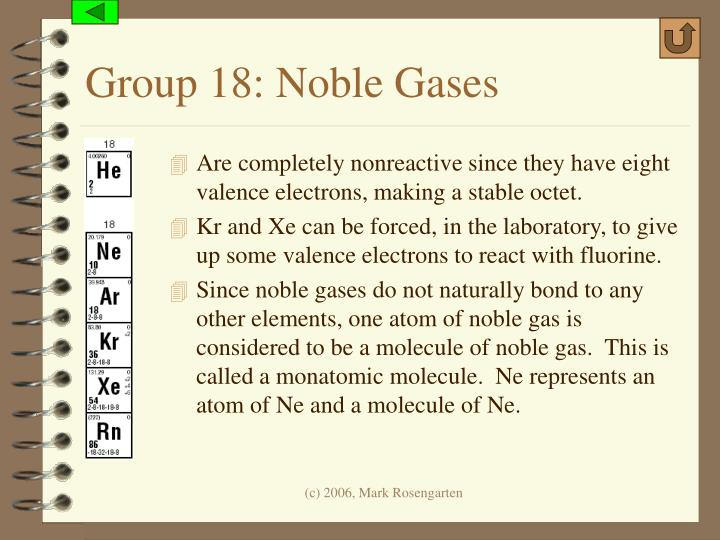 Group 18: Noble Gases
