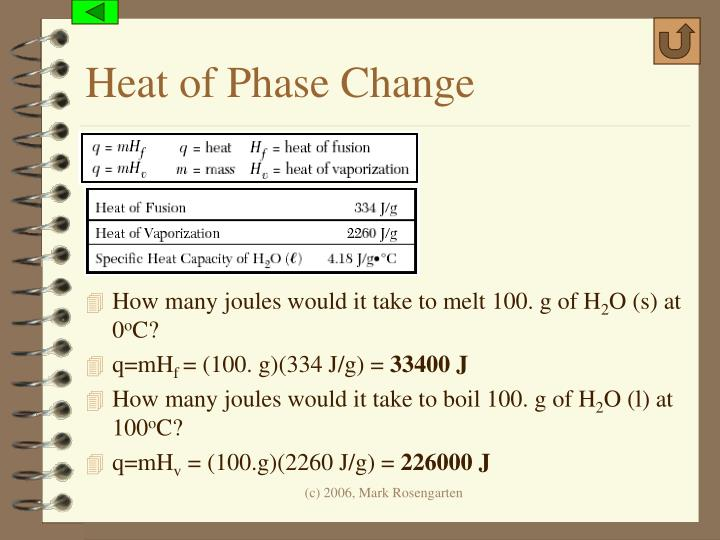 Heat of Phase Change