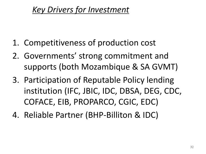 Key Drivers for Investment