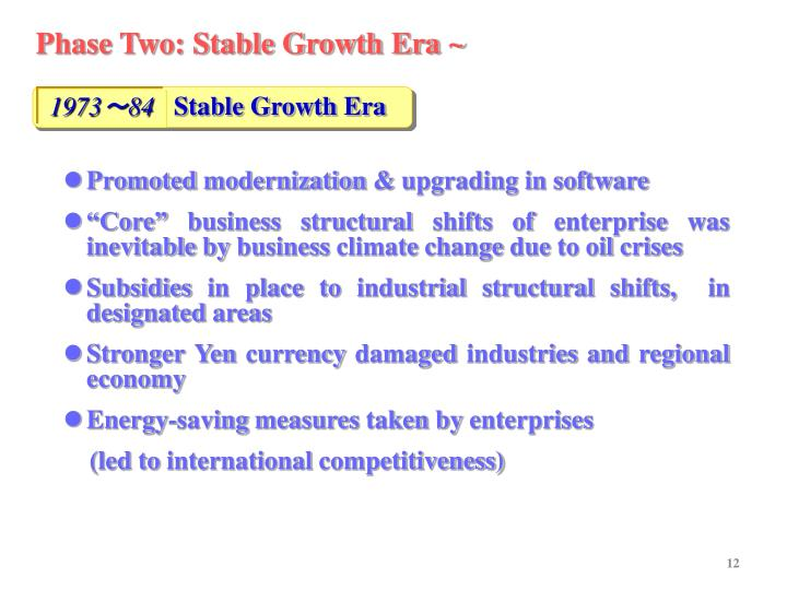 Phase Two: Stable Growth Era ~
