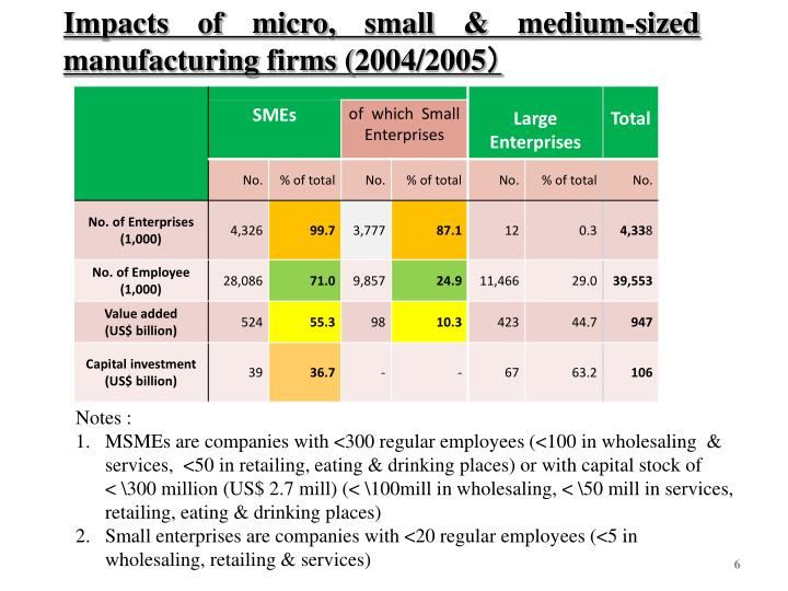 Impacts of micro, small & medium-sized manufacturing firms (2004/2005