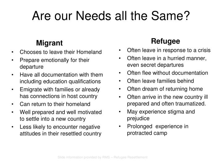 Are our Needs all the Same?