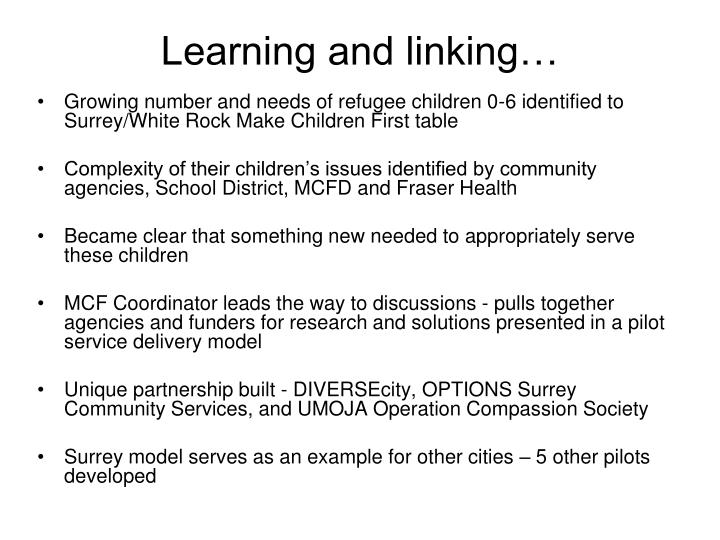 Learning and linking…