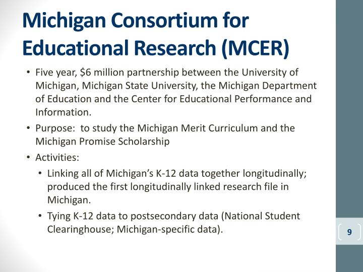 Michigan Consortium for Educational Research (MCER)