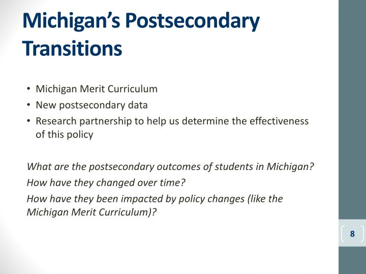 Michigan's Postsecondary Transitions