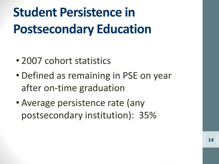 Student Persistence in Postsecondary Education