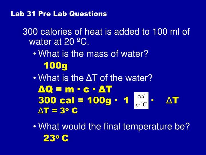 Lab 31 Pre Lab Questions