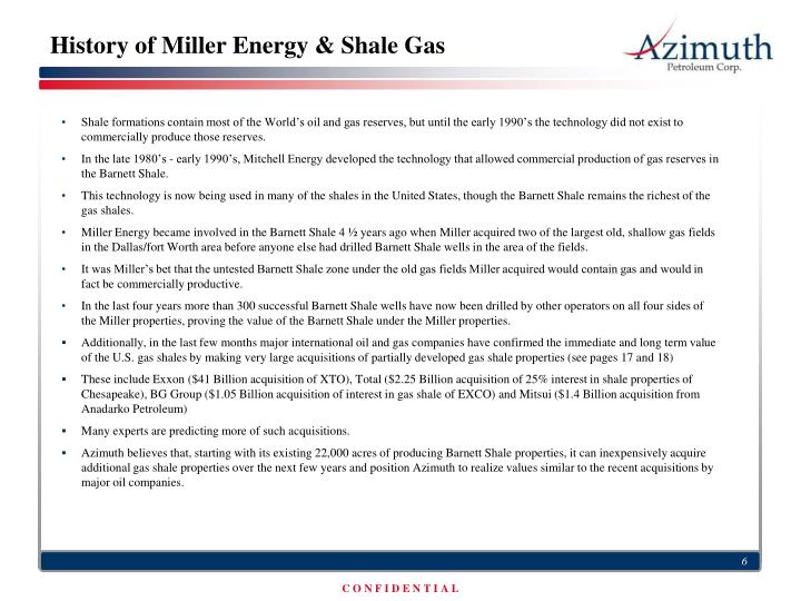 History of Miller Energy & Shale Gas