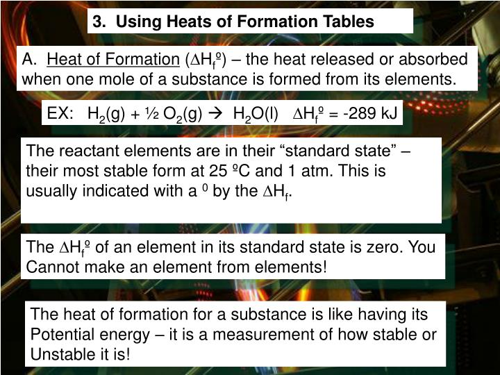 3.  Using Heats of Formation Tables